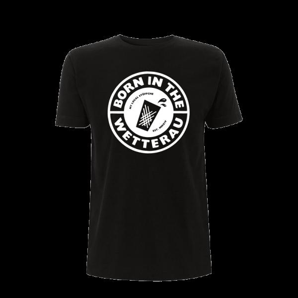 schwarzes Unisex T-Shirt mit weißem großem Born in the Wetterau Schriftzug auf der Vorderseite