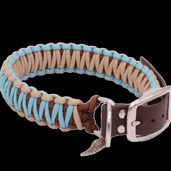 geknotetes Hundehalsband aus Paracord in den Farben beige, braun und türkis