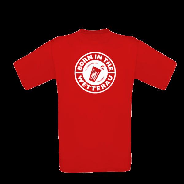 rotes Kinder T-shirt mit großem weißem BITW Logo auf der Vorderseite