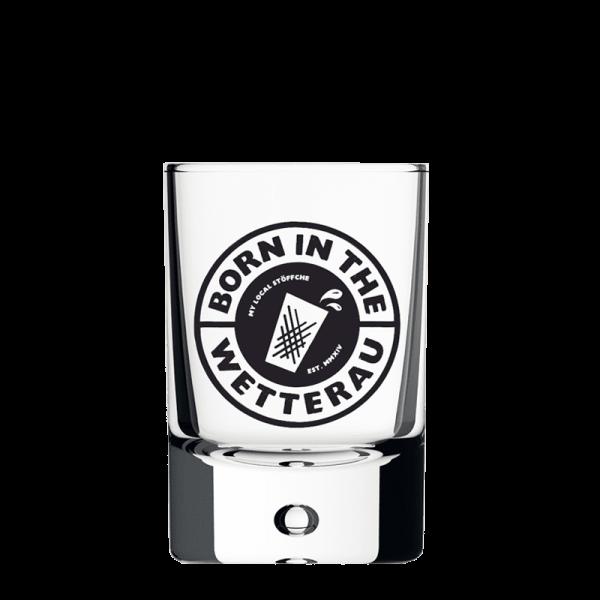 BITW Schnapsglas vorne mit schwarzem BITW Logo