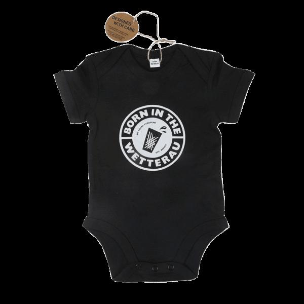 schwarzer Baby Body Classic mit großem weißem BITW Logo auf der Vorderseite