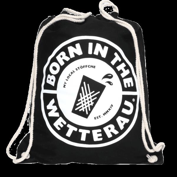 schwarzer Stoff Turnbeutel mit großem weißem BITW Logo