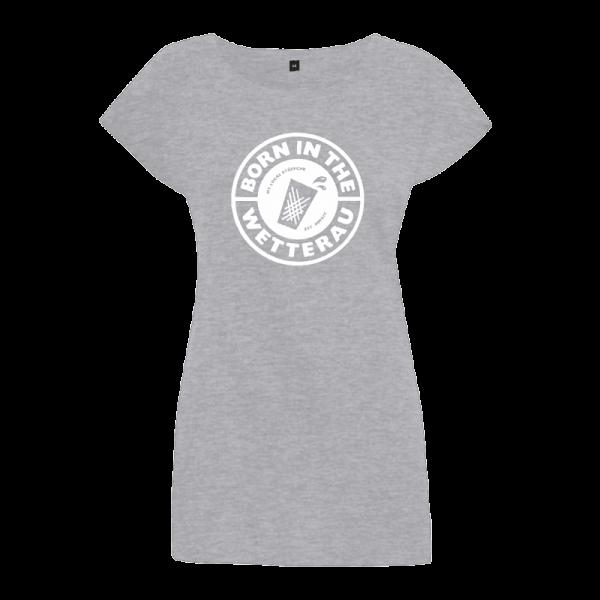 graues Damen T-Shirt mit weißem großem Born in the Wetterau Schriftzug auf der Vorderseite