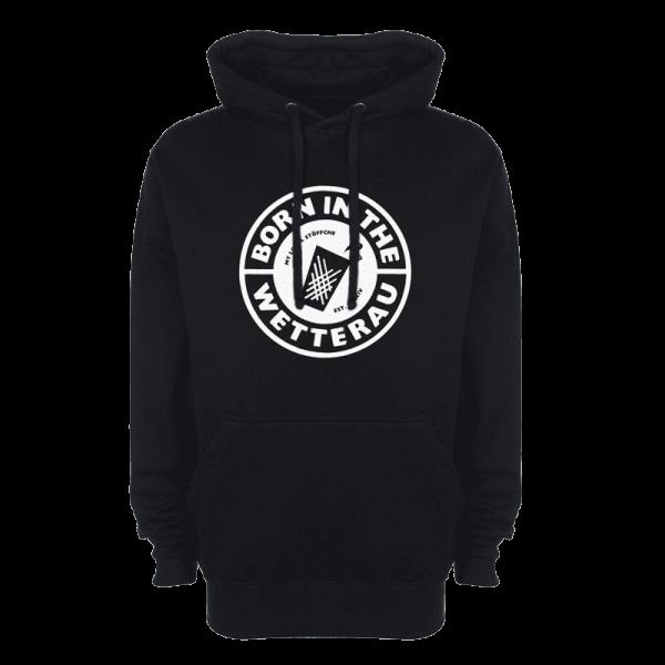 schwarzer Kapuzenpullover mit weißem großem BITW Logo auf der Vorderseite
