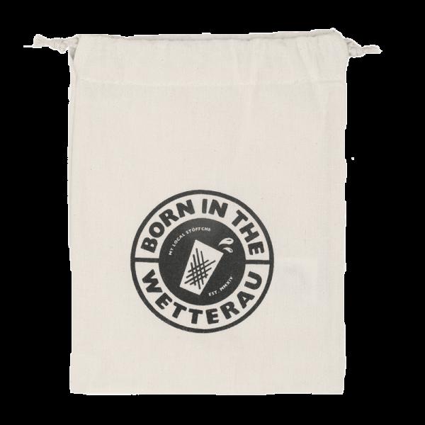 Mini Stoffbeutel naturfarben mit schwarzem BITW Logo