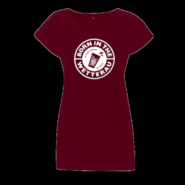 burgundy Damen T-Shirt mit weißem großem Born in the Wetterau Schriftzug auf der Vorderseite