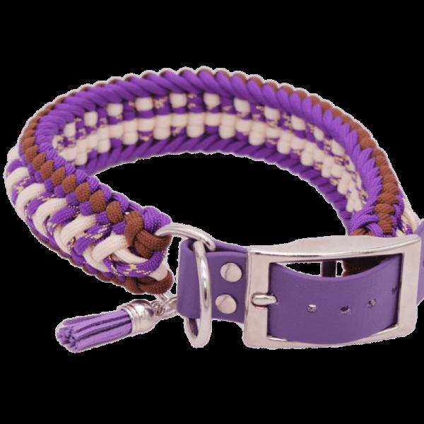 geknotenes Hundehalsband LiLaLaune aus Paracord in den Farben Lila, Braun, Beige und Goldakzente