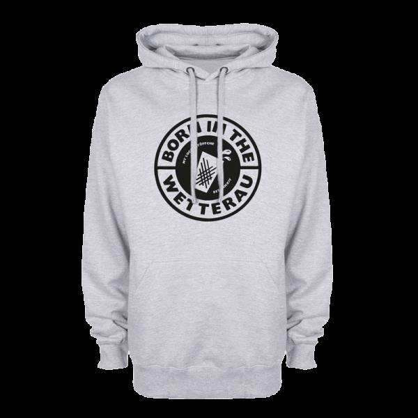 grauer Kapuzenpullover mit schwarzem großem BITW Logo auf der Vorderseite
