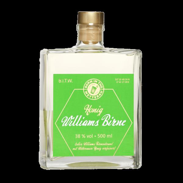 500ml Glasflasche BITW Honigbrand Williams Birne Vorderseite