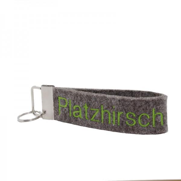 """Schlüsselanhänger """"Platzhirsch"""", braun / kiwi"""