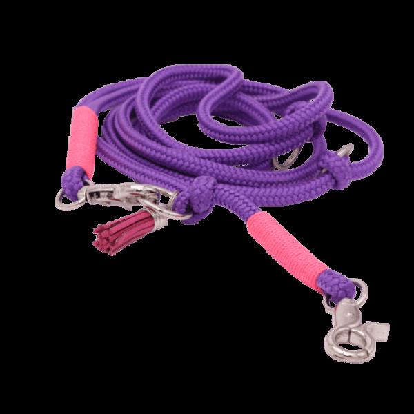 Hundeleine Aerobic aus lilafarbenem Paracord mit neonpinken Farbakzenten