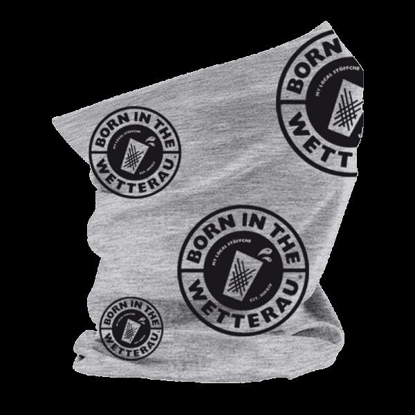 grauer Schlauchschal mit schwarzem Born in the Wetterau Logo in verschiedenen Größen
