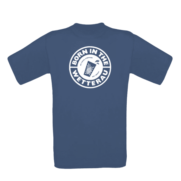 Kinder T-Shirt in denim blau mit weißem großem BITW Logo auf der Vorderseite