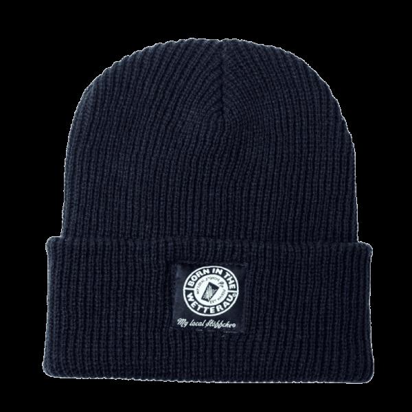 gestrickte navyblaue Mütze mit weißem BITW Log auf der Krampe frontal