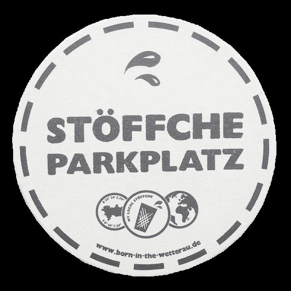 Bierdeckel mit Aufdruck Stöffche Parkplatz