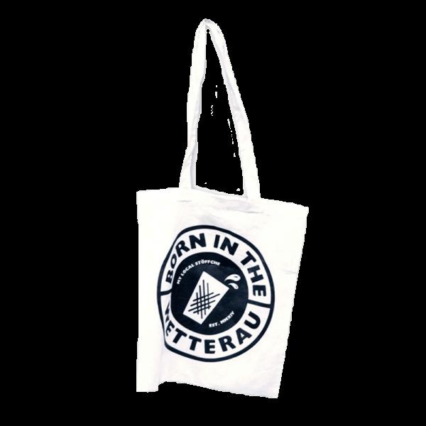 weiße Stoff-Tragetasche mit großem schwarzem BITW Logo