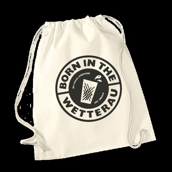 naturfarbener Baumwoll-Turnbeutel mit großem schwarzem BITW-Logo auf einer Seite
